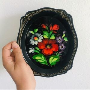 Vintage USSR Russian hand painted floral tin tray